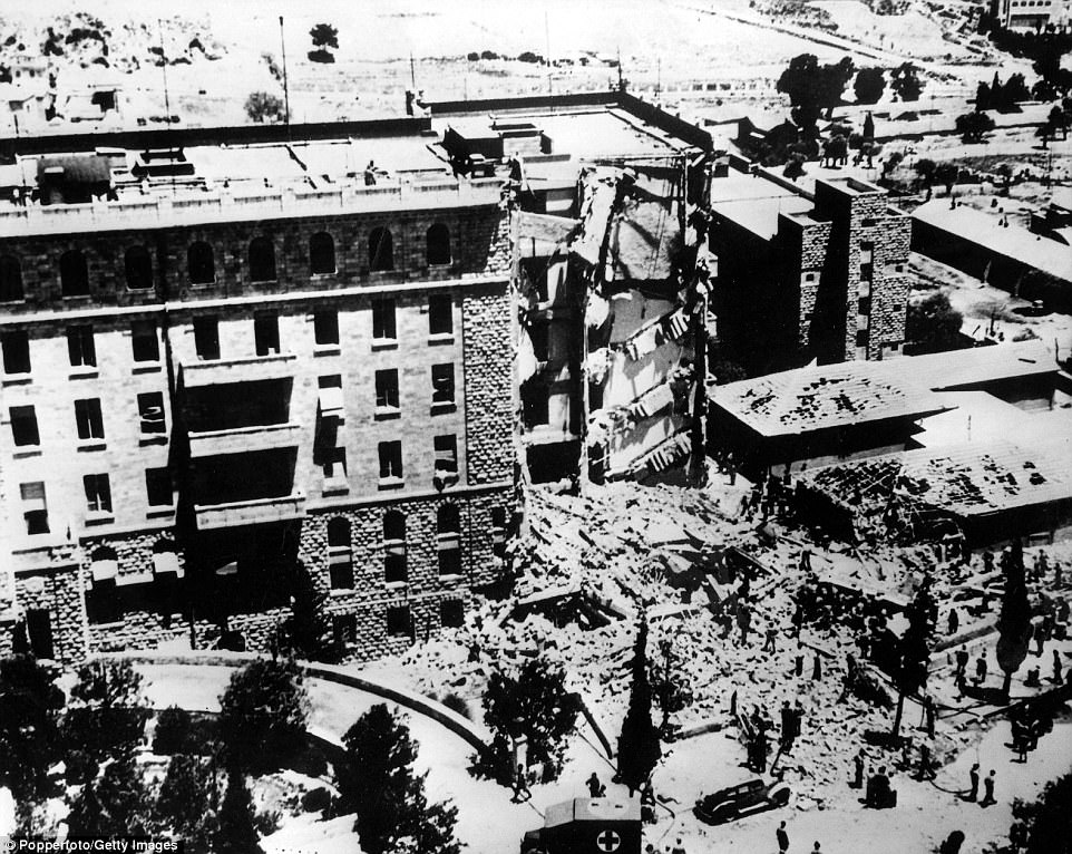 The King David Hotel is a site with historical significance in the Israeli-Palestinian dispute. In 1946, Zionist militants detonated a bomb in the hotel - which served as the administrative headquarters of the British Mandatory government in Palestine - killing 91 people (above)