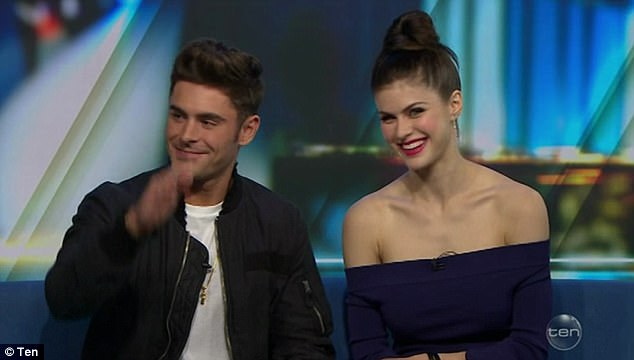 Keeping coy: Zac Efron (pictured left) admits he and Baywatch co-starAlexandra Daddario (pictured right) both have late-night cravings for pickles but refuses to confirm relationship rumours on The Project on Friday night