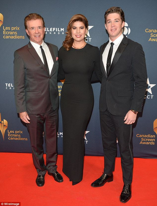 Complex matter: The 41-year-old Bolivian-born actress claims she had to forego opportunities to pursue and advance her own career in order to support Alan and raised Carter. The couple are pictured in March 2015 with Alan's son Carter