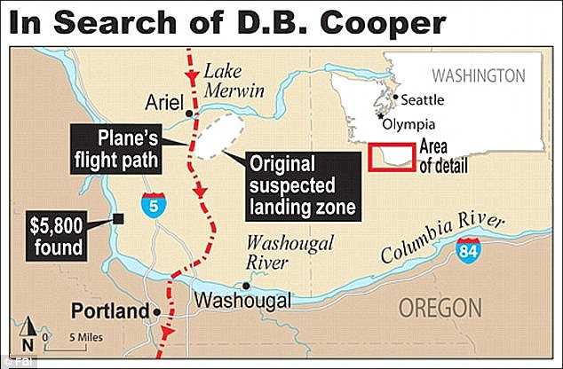 Vanished: Cooper told the plane's crew to fly after the money came in, then parachuted out over woodland. It was November and he was wearing only a suit, so many believe he died. Some $5,800 of the money was found in a river by a young boy in 1980