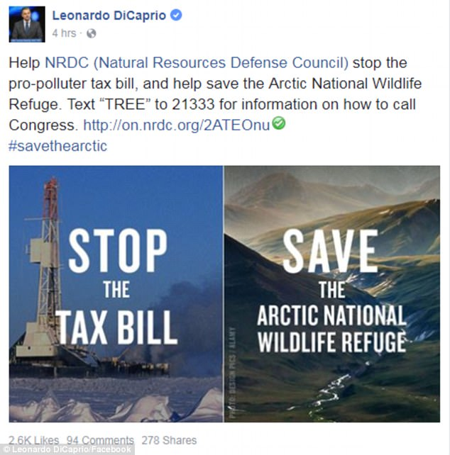 'Help NRDC stop the pro-polluter tax bill':DiCaprio spends most of his time rallying support for his favorite environmental causes, most recently the Natural Resources Defense Council