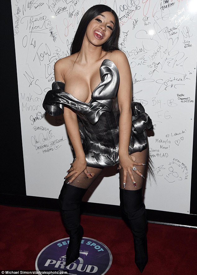 Her look:Cardi B  modeled a pretty mini on Friday night at the Foxwoods Resort Casino in Mashantucket, Connecticut