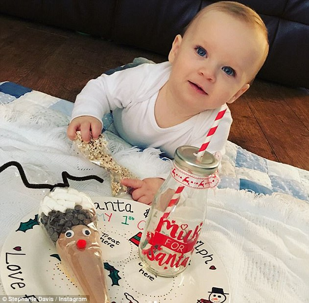 Adorable:Mother-of-one Stephanie also unveiled her plans to make his first Christmas 'so memorable' as she gushed he had 'definitely been a good boy' this year