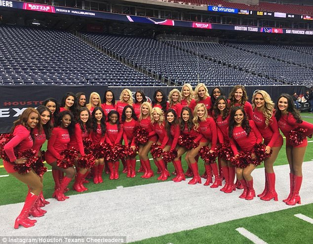 Part of the group: Simone was invited to be a guest with the team after previously expressing on Twitter that she thought it would be 'fun' to be a cheerleader