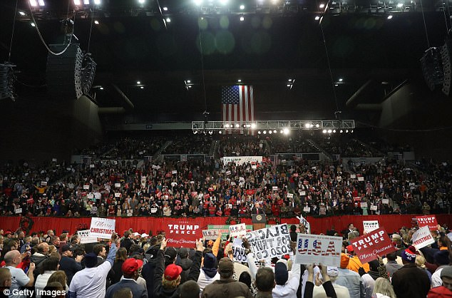 A photo taken during the rally showing that the arena was, indeed, 'packed to the rafters'