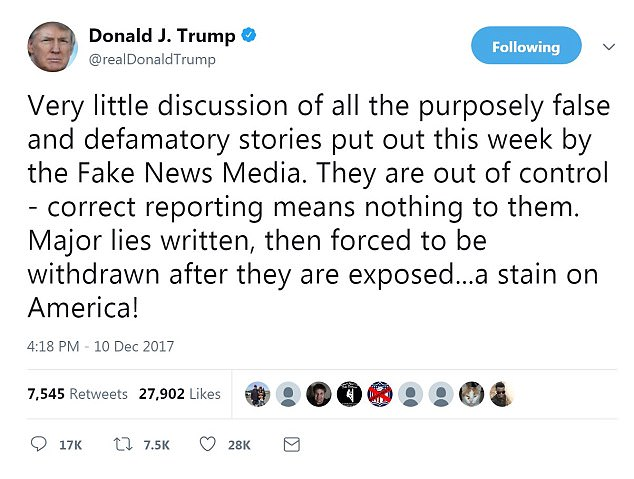 President Donald Trump hit out at the news media again, calling it 'out of control' just 48 hours after corrections were made from major outlets and their employees, regarding reports and photos that later turned out to be inaccurate