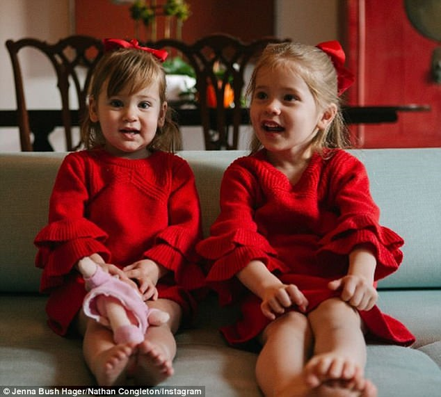 'Tis the season: Jenna took to Instagram on Tuesday to share photos of her daughters decked out in matching red sweater dresses