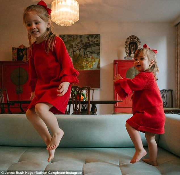 Pumped up: The professional images taken by Nathan Congleton see her girls playing in their New York City home