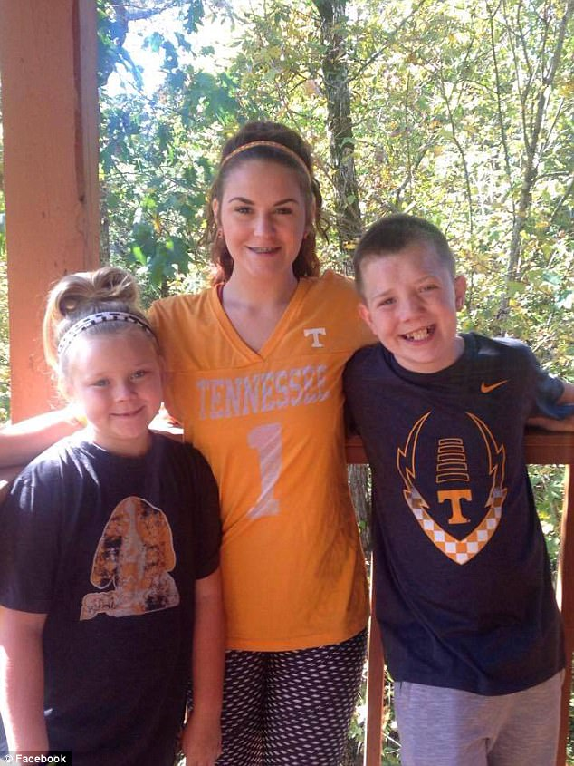 His tear-jerking video captured the hearts of more than 16 million viewers on Facebook after it was posted by his mother. Keaton is pictured with his sisters