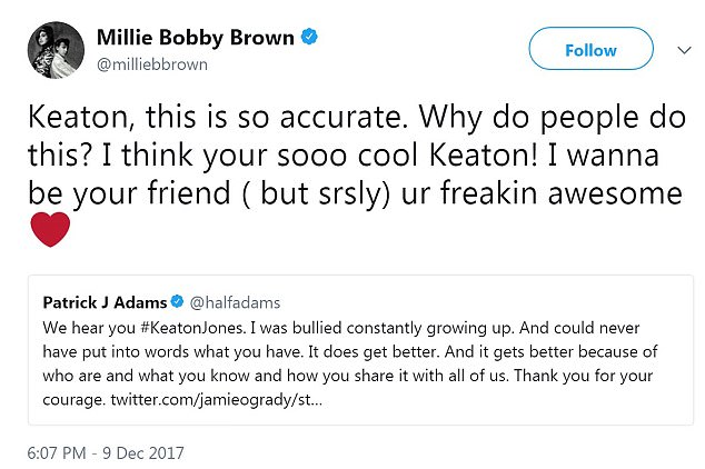 The video has garnered more than 330,000 shares on Facebook, even reaching the eyes and ears of several celebrities who have tweeted their support for young Keaton, including Stranger Things star Millie Bobby Brown