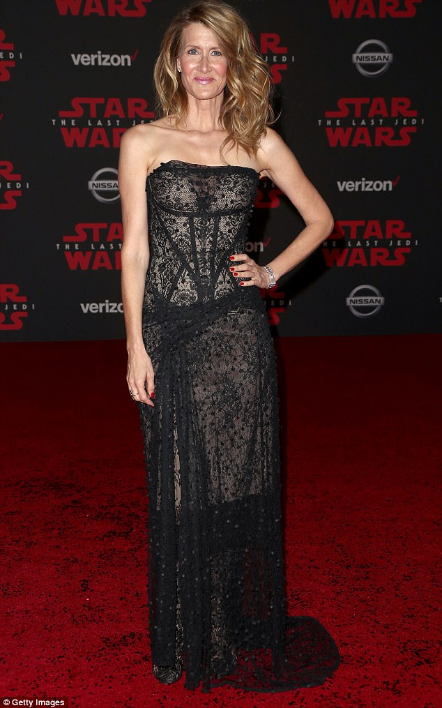 The lace Jedi: Laura Dern certainly commanded attention at the world premiere of Star Wars: The Last Jedi on Saturday night