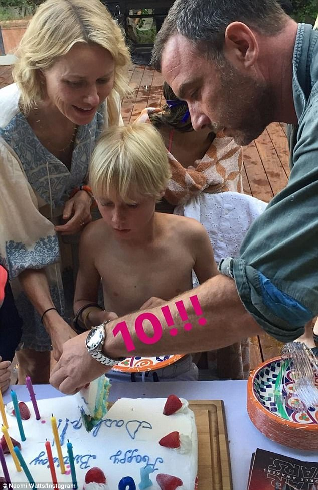 Amicable: Naomi - who's rumored to be romancing her Gypsy co-star Billy Crudup - reunited with her ex-partner Liev Schreiber for their son Sasha's 10th birthday festivities on July 25