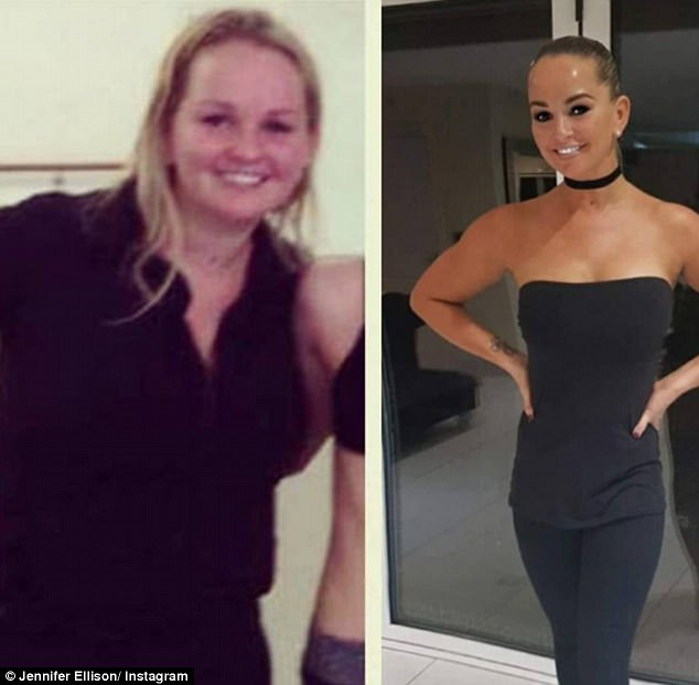 Before and after:Sharing the image with her 56,400 followers it was clear to see she was bubbling with pride, particularly after she revealed earlier this year her size 18 figure caused her 'anxiety' after which she was driven to overhaul her lifestyle