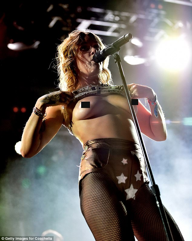 Making a statement: Tove Lo pulled the same trick from the Mojave stage at the Coachella weekend one, last weekend