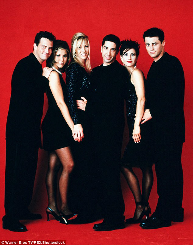 Fast fame: The cast of Friends - (L-R) Matthew Perry, Aniston, Lisa Kudrow, David Schwimmer, Courteney Cox and Matt LeBlanc - achieved a degree of fame Theroux said he wouldn't have been prepared to handle at the time