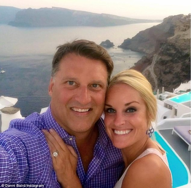 Happy last year: The two became engaged in July 2016 in Santorini, Greece, but dated for several years before that