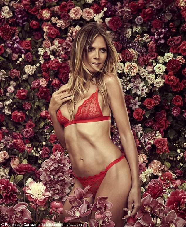 Red hot! Heidi Klum unveiled the sixth ad campaign for her lingerie label, Heidi Klum Intimates, shot in a floral setting by Italian lensman Francesco Carrozzini on Thursday