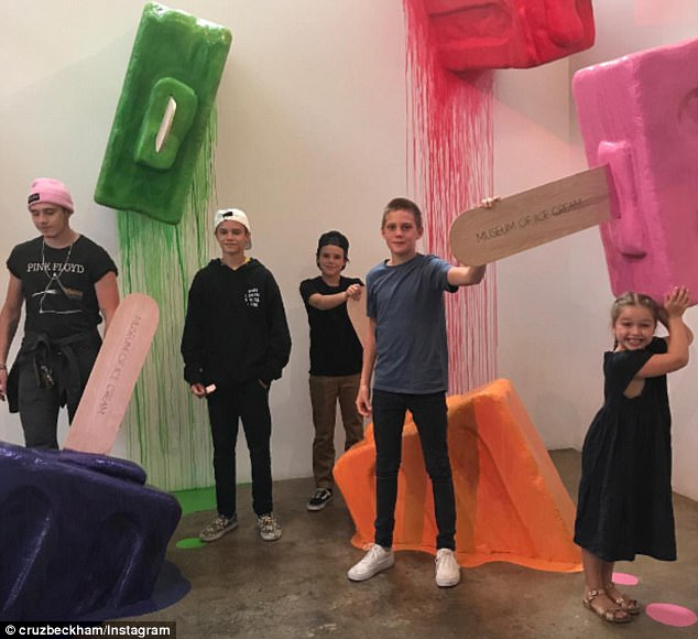 Family outing: The Beckhams took their kids - and nephew Finlay - to the Museum of Ice Cream in Los Angeles earlier on in the day on Wednesday