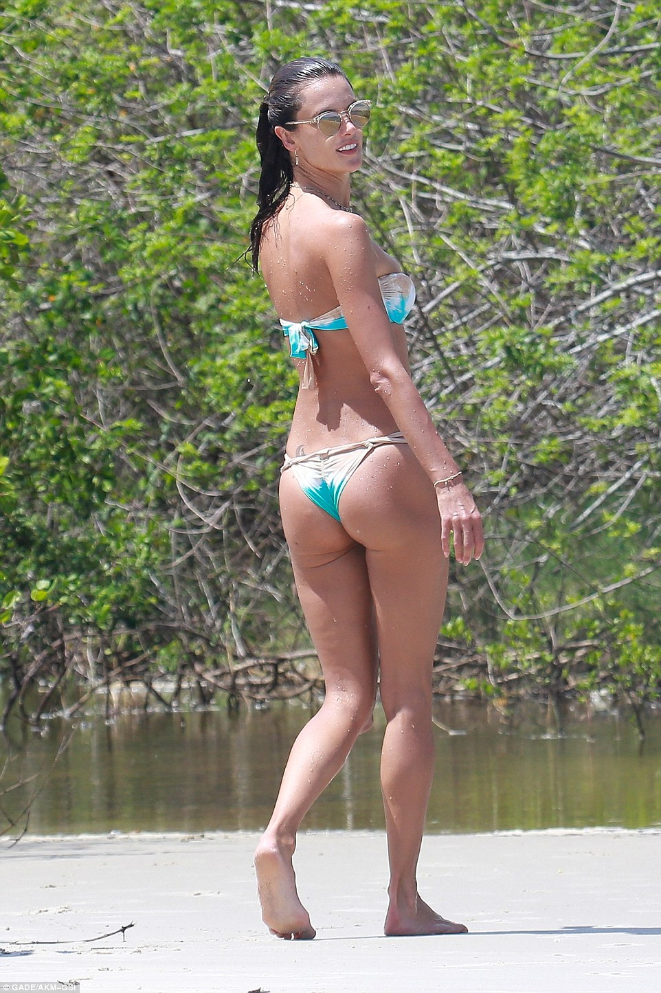 Her backside is generous though: The beauty shows off a rounded bottom