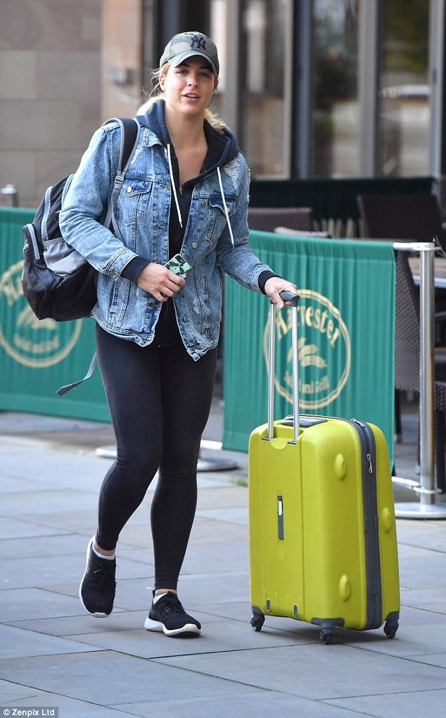 Keeping it casual: Gemma was rocking a low-key denim jacket for her outing