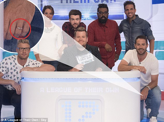 Distinctive:The former midfielder, 44, was joined by Jack Whitehall, Robbie Savage, Cesc Fabregas, Freddie Flintoff, Romesh Rangathan, Charlotte Dujardin and host James Corden, but it was the reemergence of his wedding ring that caught the eye