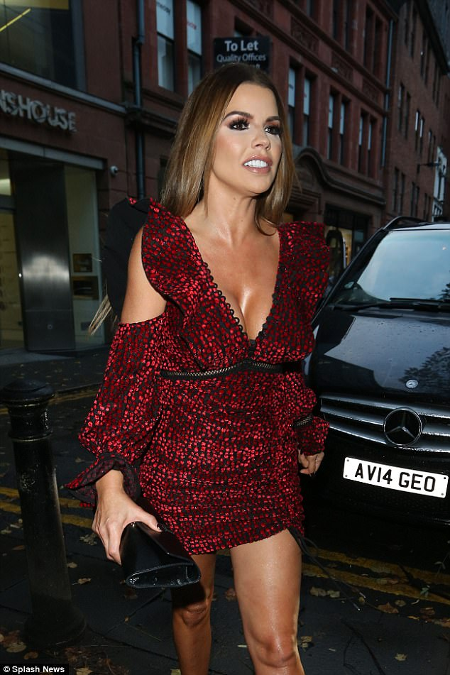 Chest a glimpse!Showing off her ample cleavage, the reality starlet, 36, slipped into the plunging polka dot dress with ruffled detailing lining the sleeves