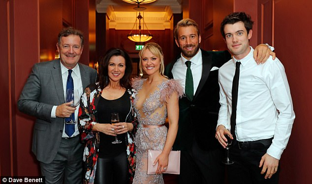 Celeb studded: Good Morning Britain presenters Piers Morgan and Susanna Reid along with comedian Jack Whitehall joined the festivities