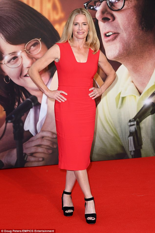 Scarlet siren: Elisabeth Shue, 53, who plays Bobby's wife Priscilla Wheelan looked sensational in a fitted red dress and chunky black sandals