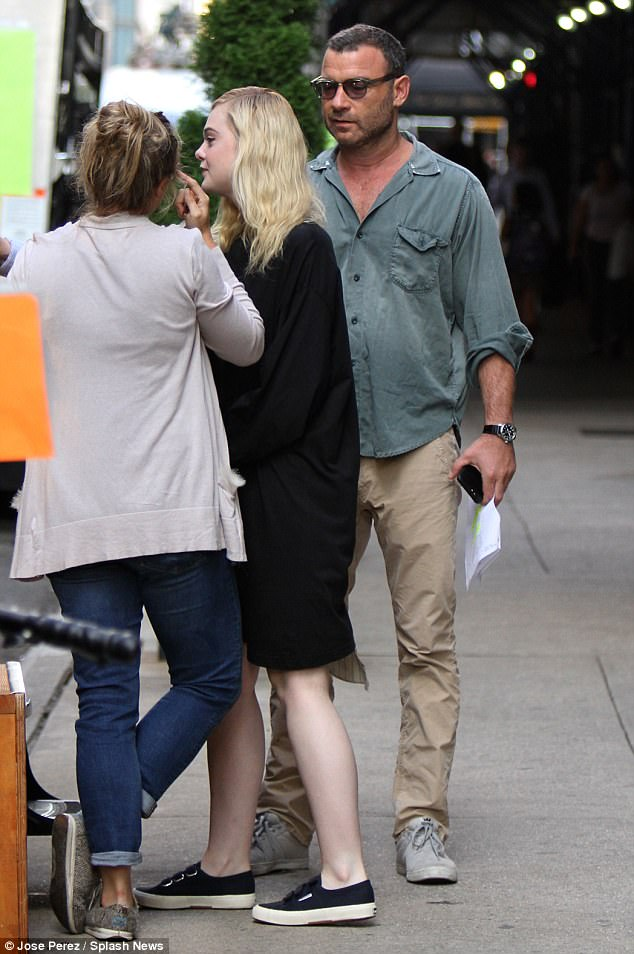 Time ot work: Hollywood actor Liev Schreiber was also spotted on the set during the busy day
