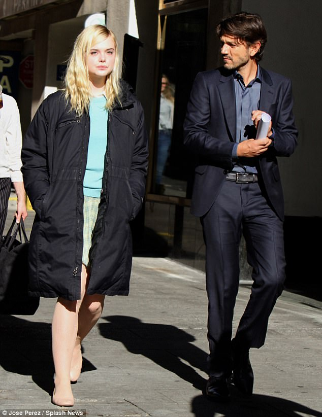 Co-star: She was joined by her co-star Diego Luna, who strolled with her as they shot scenes