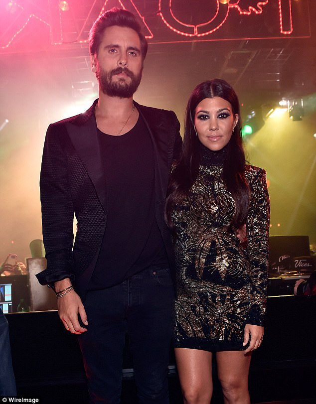 Happier times: Kourtney and Scott are parents to three children - Mason, seven, Penelope, four, and Reign, two - they had initially split in 2015 before briefly rekindling their romance last year