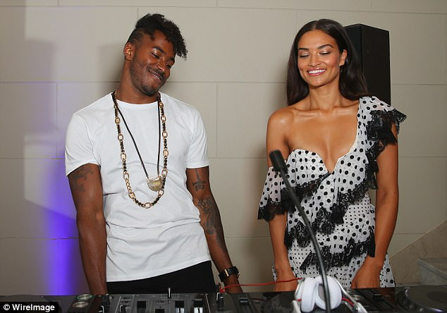 Peek-a-boob! Shanina Shaik risked a wardrobe malfunction while joining her fiance DJ Ruckus (Greg Andrews) in the DJ booth at the David Jones show in Sydney on Wednesday