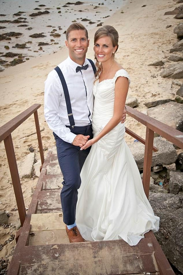 Russell Hanford, from Dorset, (pictured with wife Rachel on his wedding day) had a stroke aged 35, just five weeks after he got married.When she saw him partially paralysed and scarcely conscious in hospital, his wife Rachel feared the worst
