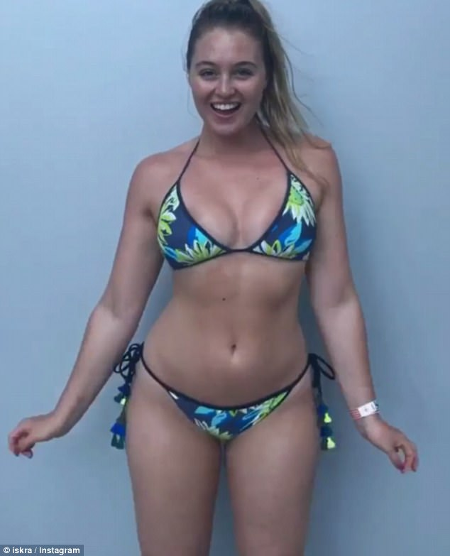 Fun in the sun: British model Iskra Lawrence posted a fun Boomerang on Instagram showing off her summer body