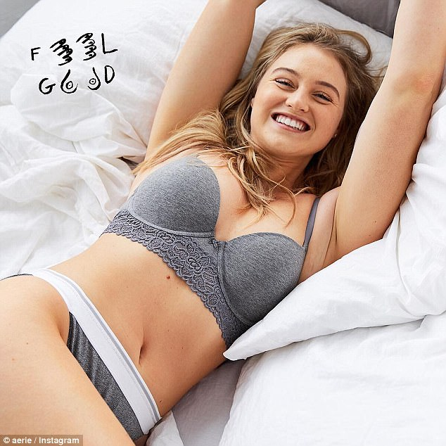 Cozy and Confident: Iskra flashes a mega-watt smile while posing in a grey underwear set with the message 'Feel Good'