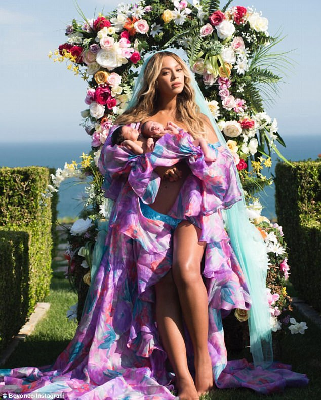 So sweet:Beyonce shared the first picture of her twins, Sir and Rumi, one month after they were born; she welcomed them with husband Jay Z in mid-June