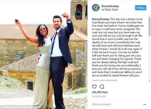 Professing her love! Rachel gushed about her final rose choice in a touching Instagram post, taken after he dropped down on one knee