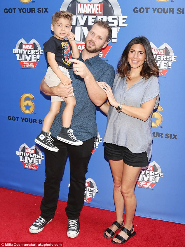 And baby makes four: Jamie Lynn posed with husband Cutter and son Beau last month in LA