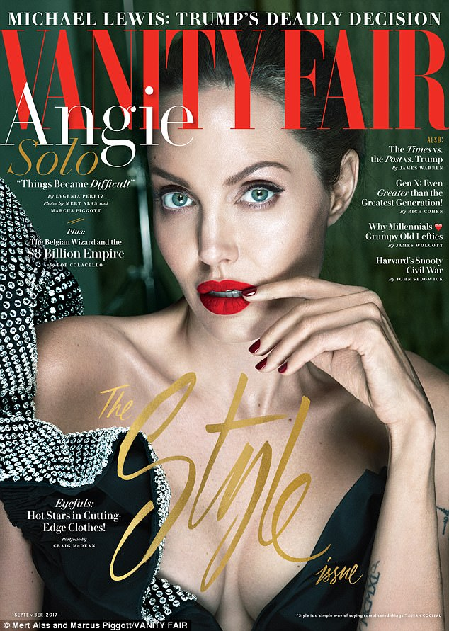Opening up:Angelina gave her first interview since separating from husband Brad in September 2016 to Vanity Fair for its September issue