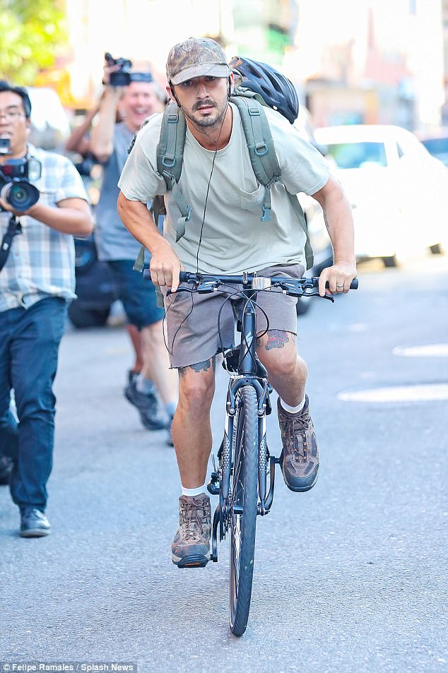 Trying to blend in? The Even Stevens star appeared subdued in camouflage colors, including a light green T-shirt and grey shorts