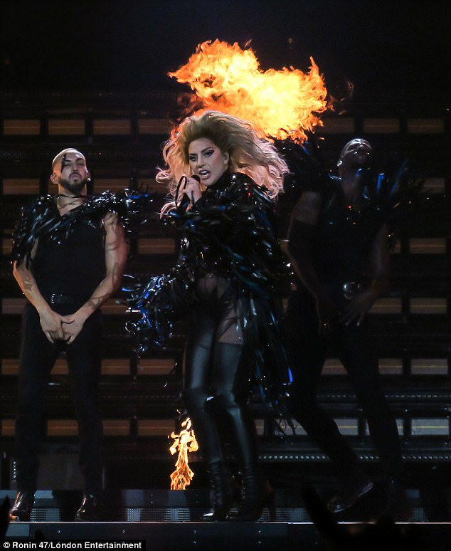 Just Dance! Lady Gaga ensured her show was quite the spectacle with flames and dramatically-clad dancers