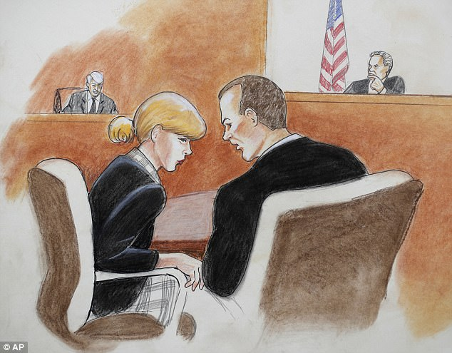 In this courtroom sketch, pop singer Taylor Swift, front left, confers with her attorney as David Mueller, back left, and the judge look on during a civil trial in federal court Tuesday