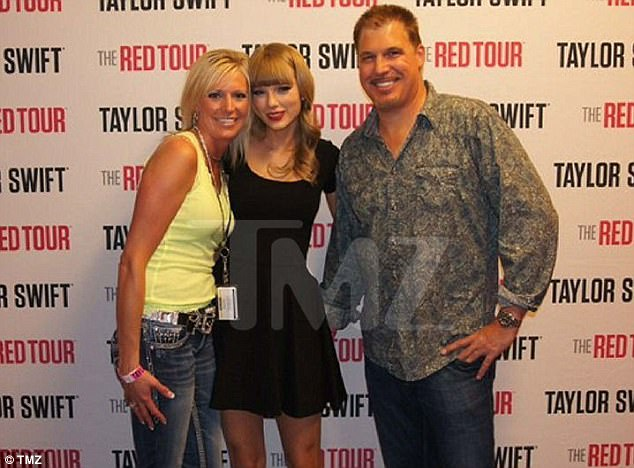 This photo of Shannon Melcher (left) and David Mueller (right) with his hand behind Taylor Swift at the Pepsi Center was leaked last year. Swift testified saying it shows the moment Mueller'grabbed my ass underneath my skirt'