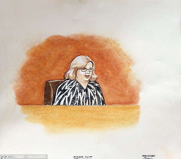 Taylor Swift's mother Andrea (seen above in a court sketch from Wednesday's hearing) said she was left upset to the point where she wanted to 'vomit and cry at the same time' after being told her daughter had allegedly been groped at a concert.