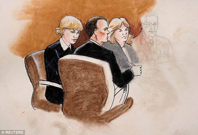 A court sketch shows Taylor Swift was seated with Andrea on one side and Attorney J. Douglas Baldridge on the other side on Tuesday