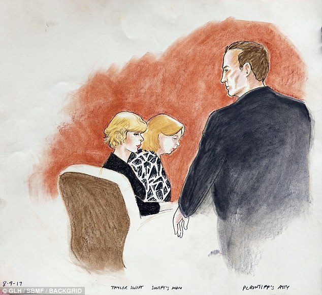 This court sketches drawn on Wednesday August 9 shows Swift with her lawyer, Doug Baldridge and her mom