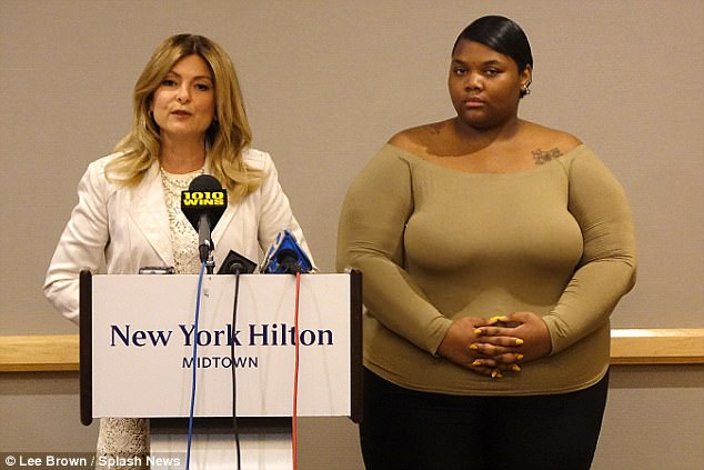 Sharpton (right) spoke at a press conference in New York City on Monday about the lawsuit, along with her attorney Lisa Bloom (left)