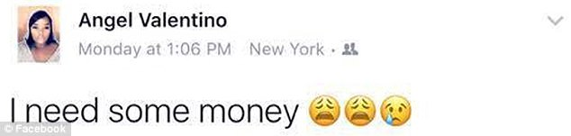 Exactly one week before, Sharpton - who also goes by Angel Valentino on social media - had taken to Facebook to declare: 'I need some money'. She is now declaring that the post has nothing to do with the lawsuit