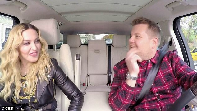 B**** I'm Madonna! One memorable guest from James' Late Late Show spin off was pop legend Madonna, who sent fans wild when she showed off her flexibility in his SUV by putting her leg behind her ear