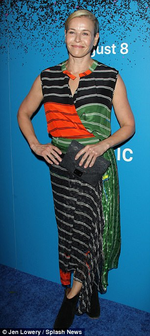 Guest star:Netflix talk show host Chelsea Handler opted for a sleeveless striped top, matching skirt, and black accessories selected by stylist Tara Swennen